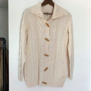 LL Bean | Toggle Cable Knit Cardigan Sweater Small